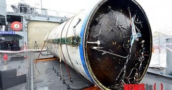 Odzyskany dolny stopień rakiety Unha-3 (zdjęcie z 2012 roku) / Credits - Chosun Ilbo Chosunonline.com