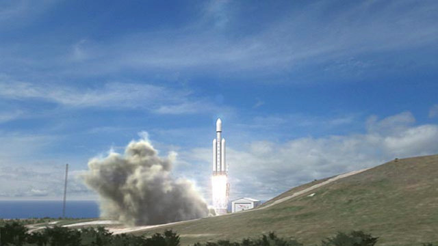 Wizualizacja startu Falcon Heavy / Credits: SpaceX