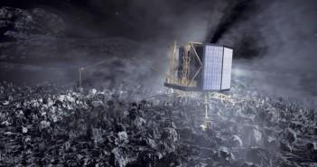 Philae na powierzchni komety - wizualizacja / Credit: ESA