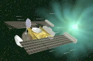 Wizualizacja sondy Stardust w przestrzeni międzyplanetarnej / Credit: NASA
