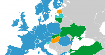 ESA Member states (dark blue), Hungary and Estonia (orange), cooperating states  (light blue), signatories of the Cooperation Agreement / Credits – Wikipedia Commons