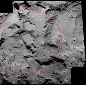 Obszar J na komecie 67P/C-G widziany z sondy Rosetta z odległości ok. 30 km
