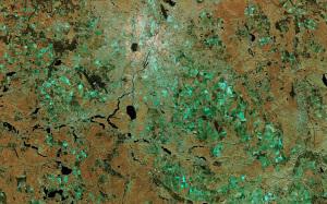 Zdjęcie radarowe Berlina i okolic przesłane przez Sentinela-1A. Transmisji dokonano laserowo poprzez satelitę Alphasat, 28 listopada 2014