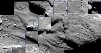 Opadający Philae na tle powierzchni komety 67P/Czuriumow-Gierasimienko