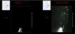 Zdjęcie z CIVA-P/1 lądownika Philae przed i po rozjaśnieniu - po prawej uwidoczniony Perihelion Cliff, AGU 2014