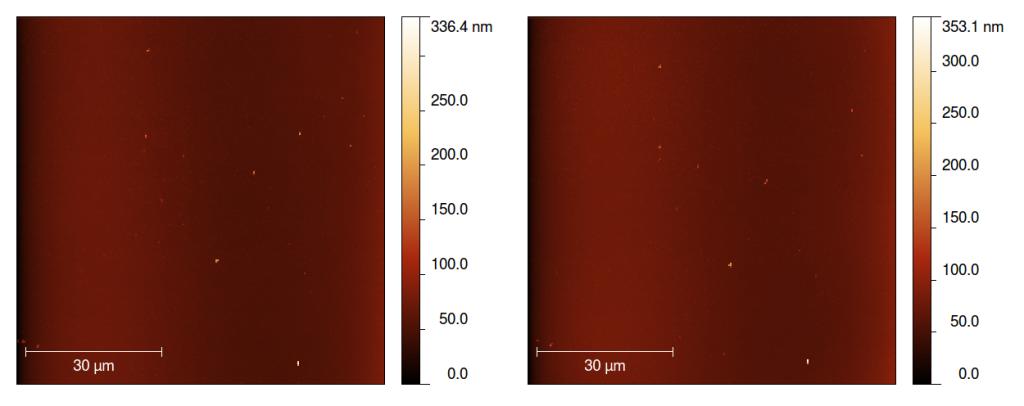 Tarcza instrumentu MIDAS sondy Rosetta przed (po lewej) i po pierwszej ekspozycji we wrześniu 2014 roku / Credit: ESA/MIDAS team