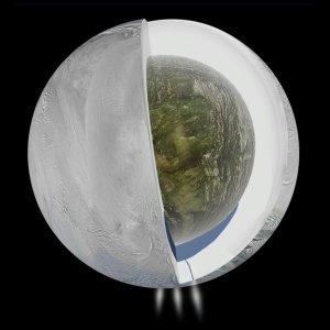 Dotychczas sugerowany wygląd oceanu skrytego pod pokrywą lodową Enceladusa / Credits - NASA