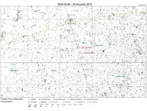 Mapka prezentująca trasę przelotu planetoidy 2004 BL86 / Credits - program Nocny Obserwator www.astrojawil.pl