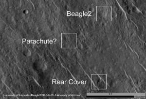 Identyfikacja elementów lądownika Beagle 2 na powierzchni Marsa / Credits: HIRISE/NASA/Leicester