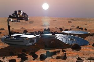 Beagle 2 na powierzchni Marsa - wizualizacja