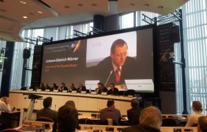 Przemowa obecnego prezesa zarządu Niemieckiej Agencji Kosmicznej (DLR), a przyszłego (od 1 lipca) dyrektora generalnego Europejskiej Agencji Kosmicznej na konferencji EU Space Policy 2015