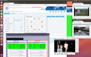 Zrzut ekranu nadzoru telekonferencji na paśmie Q/V. Widoczne stacje naziemne Tito Scalo i Spino d'Adda a także podgląd strumienia wizji