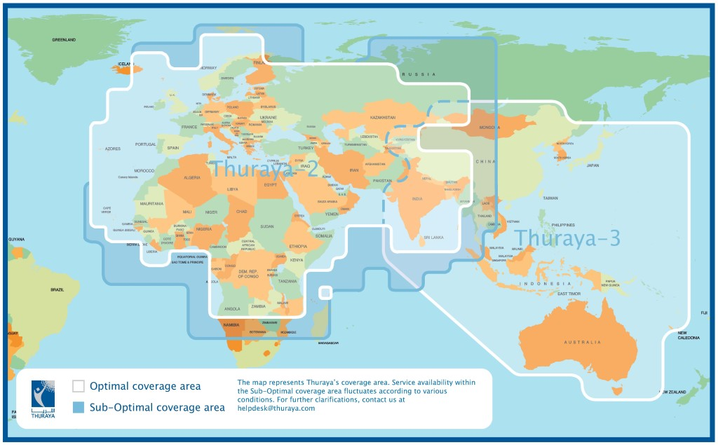 Zasięg satelitów Thuraya-2 i 3 / Credit: Thuraya