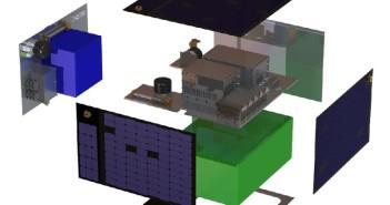 Wnętrze satelity FeatherCraft - zielonym kolorem zaznaczono przestrzeń na ładunek (instrumenty) satelity / Credits - SST-US