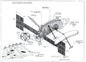 Satelita typu Indigo / Lacrosse / Onyx - szkic / Credits: Charles P. Vick
