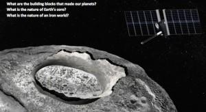Wizja artystyczna misji eksploracyjnej do asteroidy Psyche / Źródło: JPL/Corby Waste