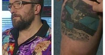 Rosetta i Philae - tatuaż Matta Taylora / Credits -  Dr Paul Coxon twitter