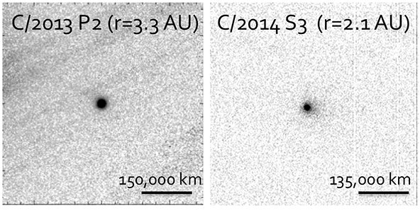Niska aktywność C/2013 P2 Pan-STARRS i C/2014 S3 Pan-STARRS / Credits -  Gemini North i CFHT