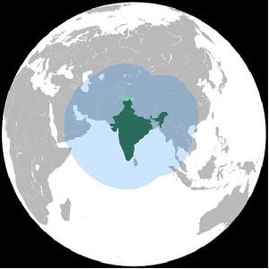 Zasięg systemu IRNSS i GAGAN / Credit: ISRO