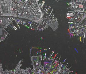 Zobrazowanie ruchu statków i kontenerów w porcie Baltimore za pomocą radarowych obserwacji satelitą TerraSAR-X / Credit: Airbus D&S