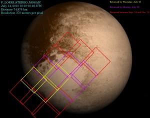 Czerwone ramki oznazają zdjęcia z New Horizons, które nie zostały w ogóle przesłane na Ziemię (nawet w kompresji stratnej) / Credits - Planetary.org, NASA