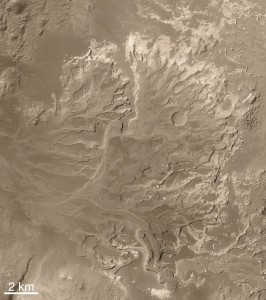 Delta we wnętrzu krateru Eberswalde / Credits - NASA, MSSS