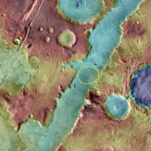 Wycinek Nili Fossae z zaznaczoną elipsą lądowania dla łazika MSL. Elipsa lądowania dla łazika Mars 2020 ma być mniejszych rozmiarów. / Credits - NASA