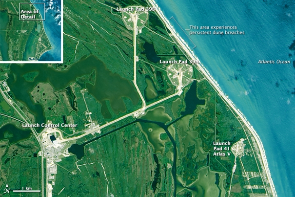 Kennedy Space Center, zdjęcie z satelity Landsat