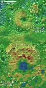 Mapa topograficzna dwóch potencjalnych kraterów na Plutonie - niebieski obszar to nagłębsze regiony, a czerwony kolor oznacza szczyty wzgórz / Credits - NASA/Johns Hopkins University Applied Physics Laboratory/Southwest Research Institute