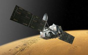 Sonda ExoMars 2016 Trace Gas Orbiter na orbicie Marsa - wizualizacja / Credit: ESA