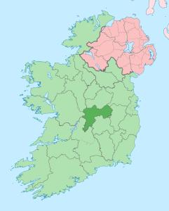 Położenie hrabstwa Offaly na mapie Irlandii / Credit: NordNordWest, CC-BY-SA 3.0
