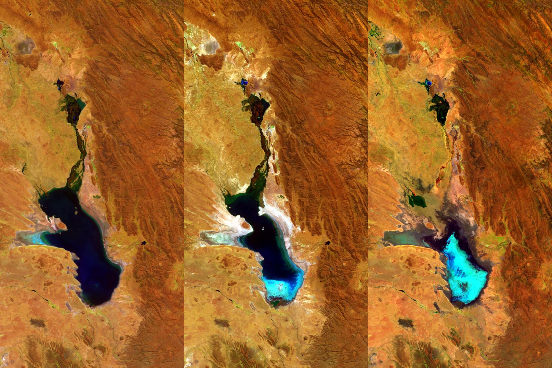 Proba-V i jezioro Poopó. Od lewej, zdjęcie z 2014, 2015 i 2016 roku / Credit: ESA/Belspo – produced by VITO
