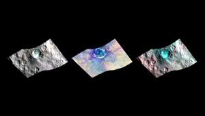 Krater Haulani w zakresie wizualnym i w podczerwieni / Credits - NASA/JPL-Caltech/UCLA/ASI/INAF